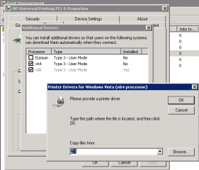 Error message when you try to add a 32-bit printer driver ...