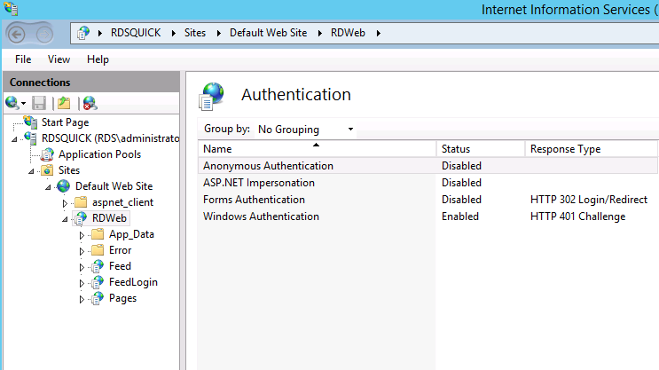 RDS – Configuring Windows Integrated Authentication (WIA