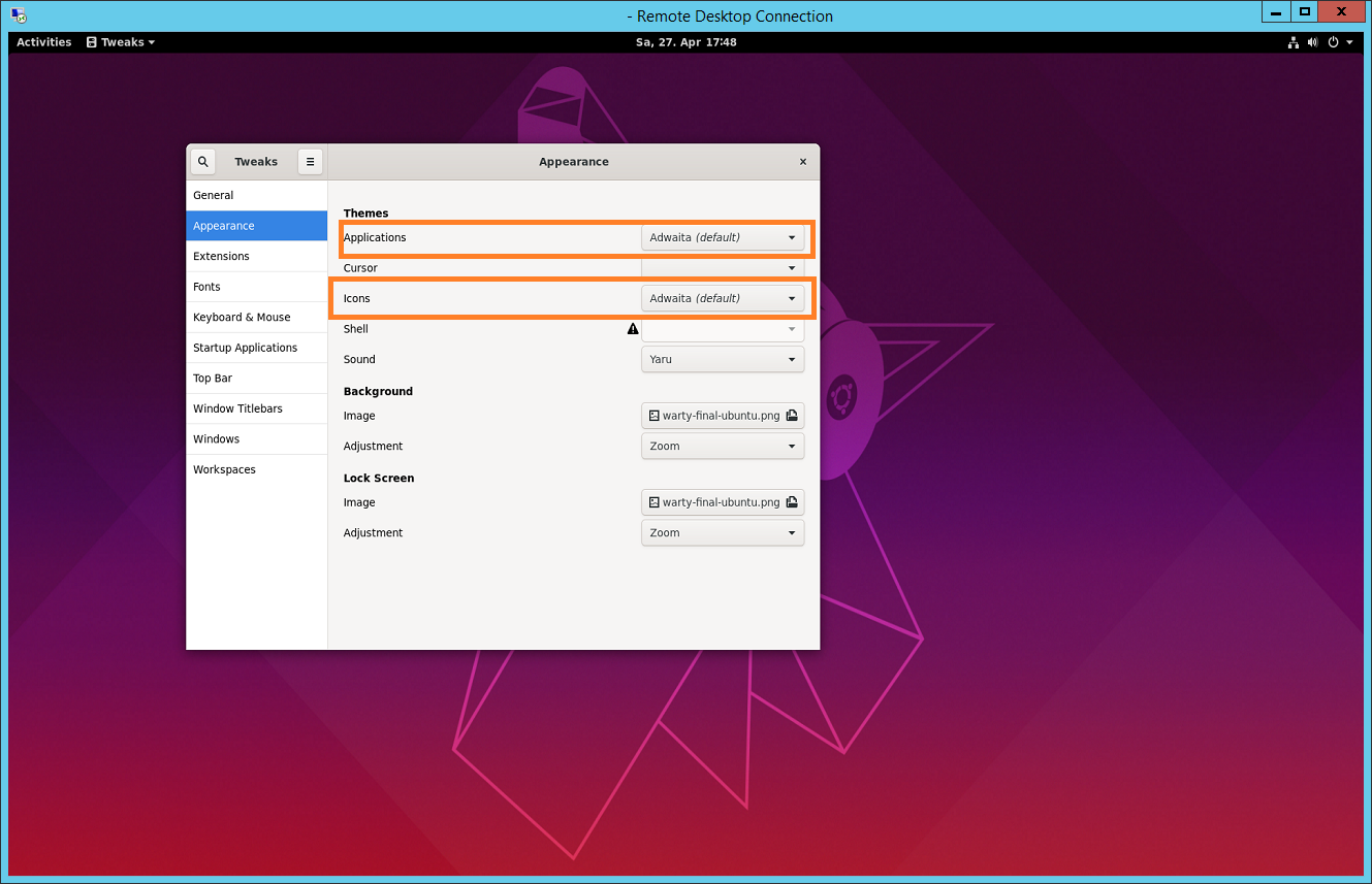 xRDP – Fixing Look n' Feel Settings in Ubuntu 19 04 Remote Session