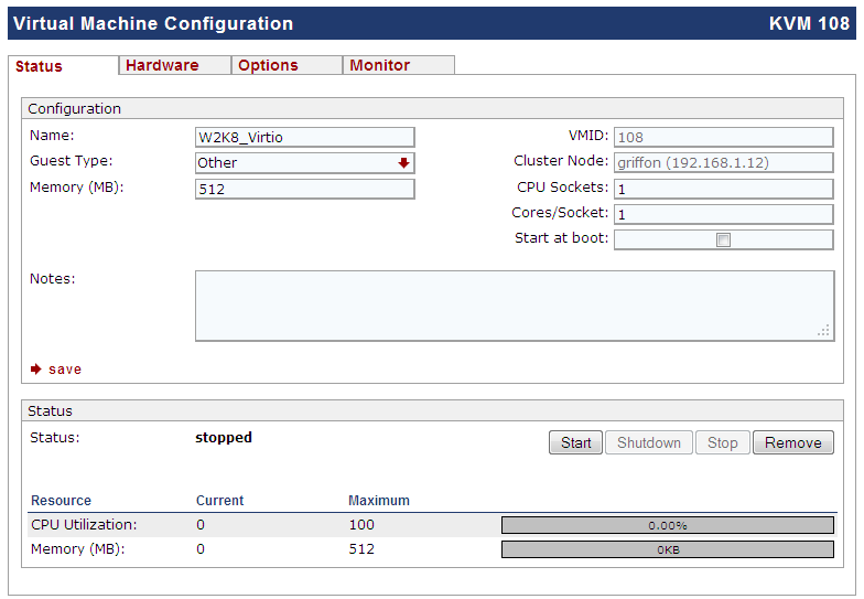 ProxMox VE -Image Format, Disk Type and other options when