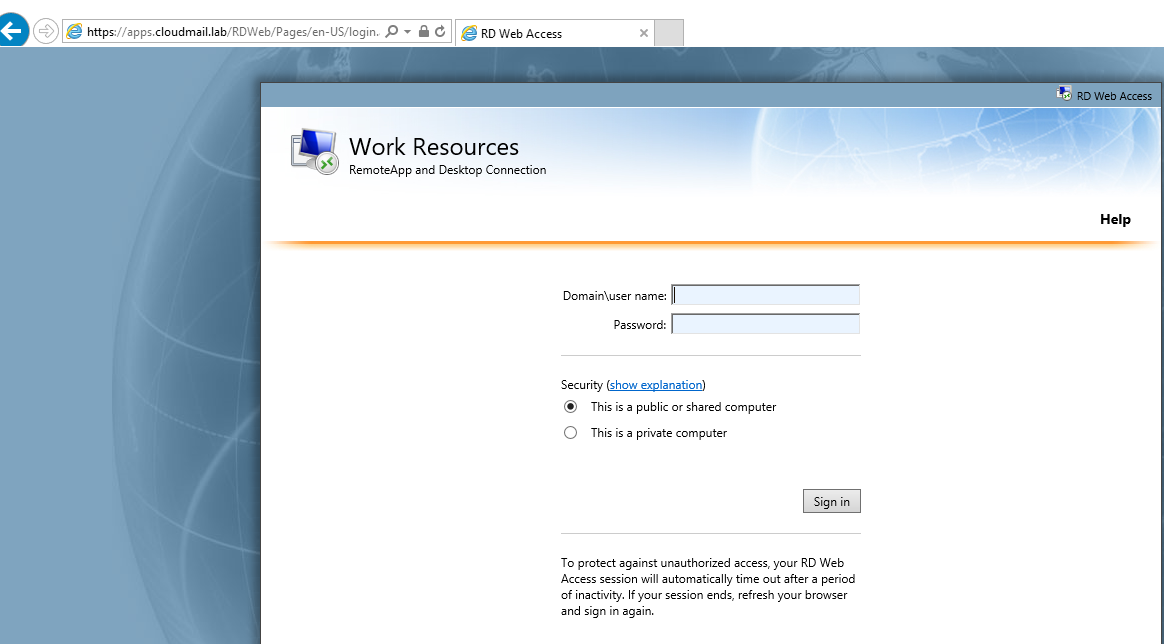 RDS 2012 R2 – Valid credentials via RD Web Login form not accepted