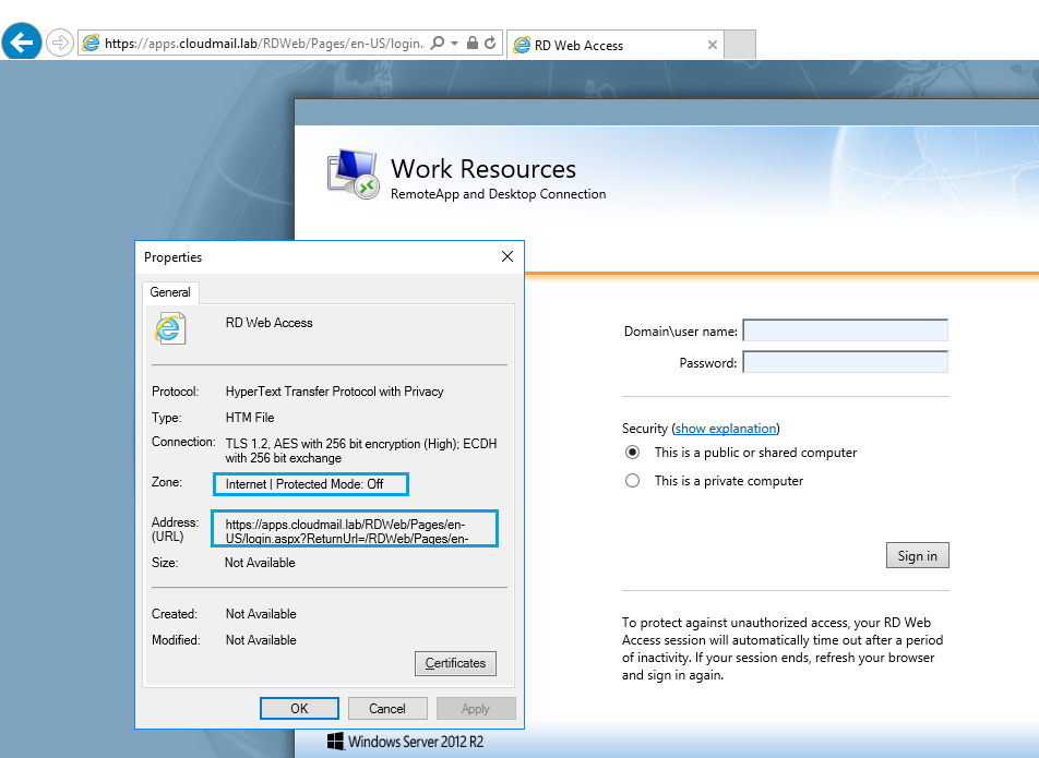 RDS 2012 R2 – Valid credentials via RD Web Login form not