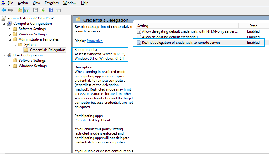 RDS 2012 R2 – Account Restrictions are preventing to signing