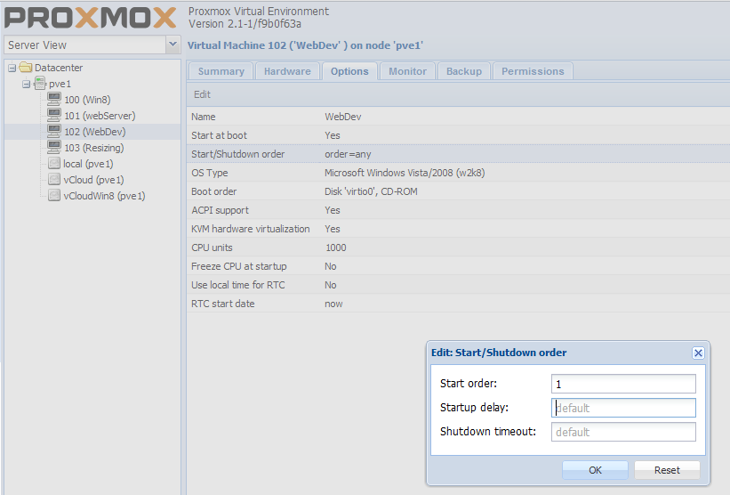 Proxmox ve 2 x – Virtual Machines startup Shutdown options