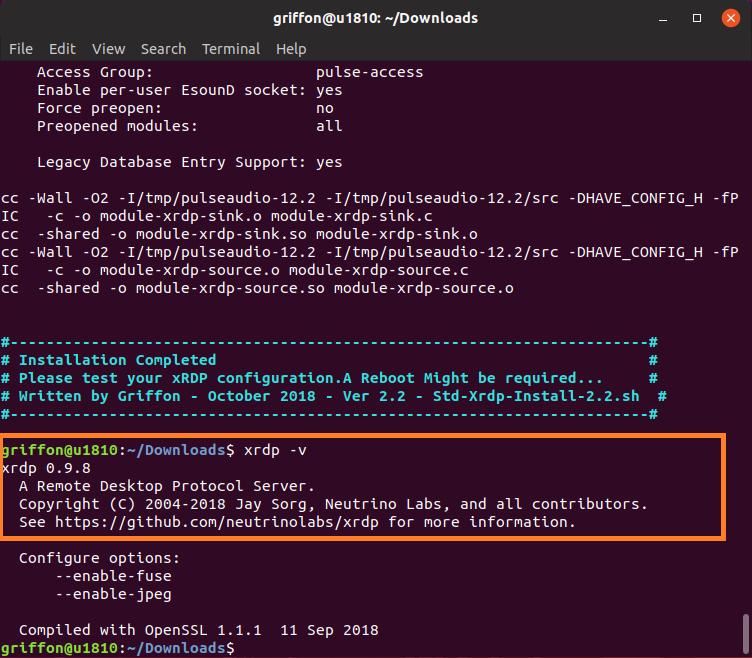 xRDP – Custom Installation Script for Ubuntu 18 10 – version