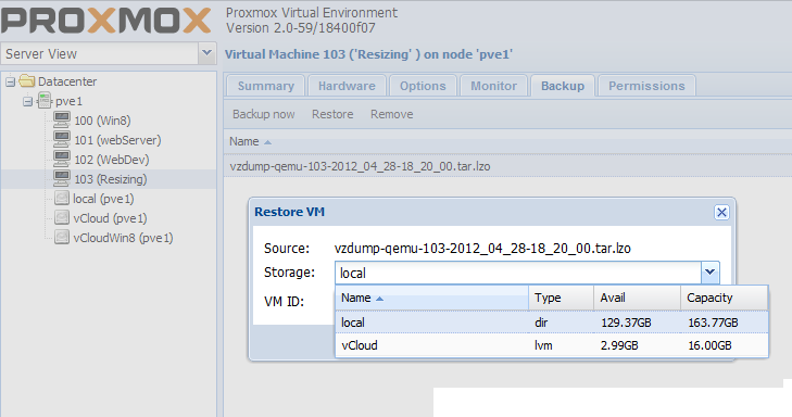 Proxmox VE 2 0 – Move VM files from one Storage Location to another