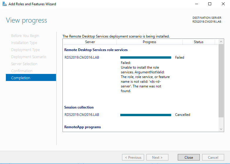 RDS – Windows 2019 Server Preview – Something is missing